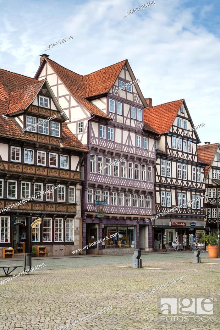 Stock Photo: Timbered houses on the market square in Hannoversch Muenden on the German Fairy Tale Route, Lower Saxony, Germany, Europe.