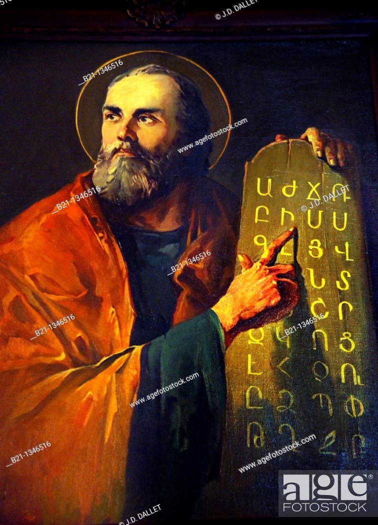 Stock Photo: Armenian Saint Mesrob, inventor of the Armenian alphabeth in 404, Forty Martyrs Armenian cathedral, Jdeidé, Aleppo, Syria.