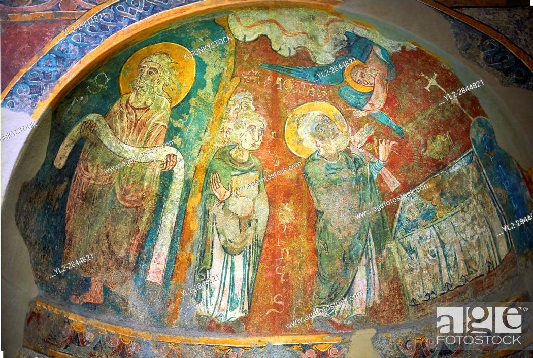 Stock Photo: Romanesque frescoes of Apse of St. Steven of Andorra (Sant Esteve) from the church of Sant Esteve dâ. . Andorra, painted around 1200-1210, Andorra la Vella.