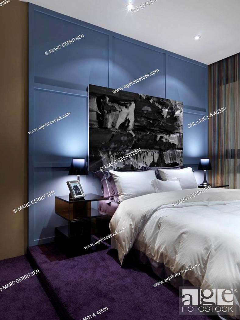 Stock Photo Modern Bedroom With Purple Carpet