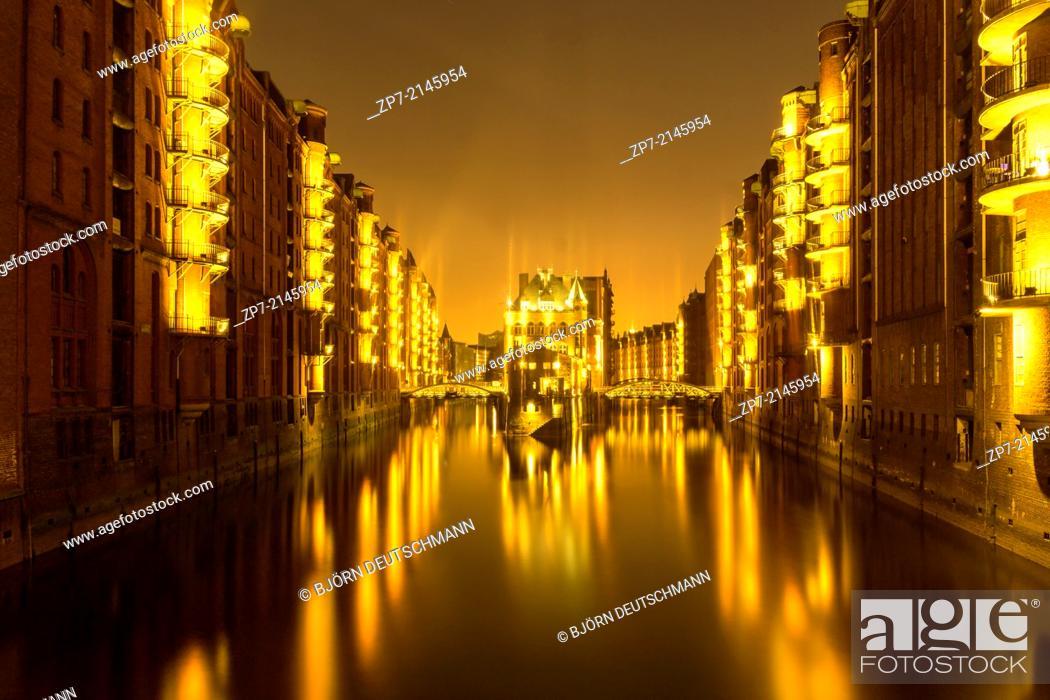 Stock Photo: The Water Castle Hamburg at night.