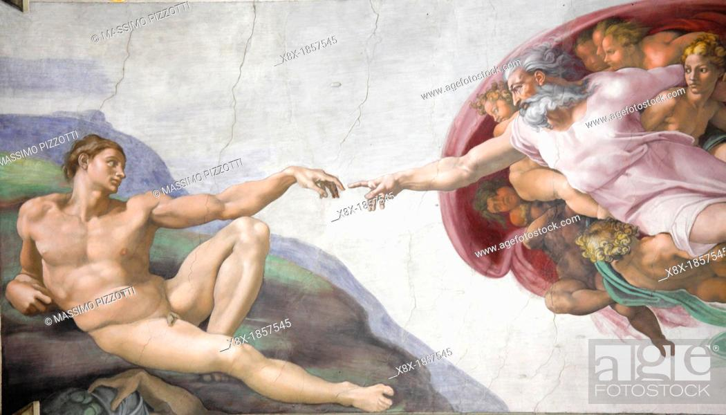 Stock Photo: The Creation of Adam by Michelangelo at the Sistine chapel, Vatican, Rome, Italy.
