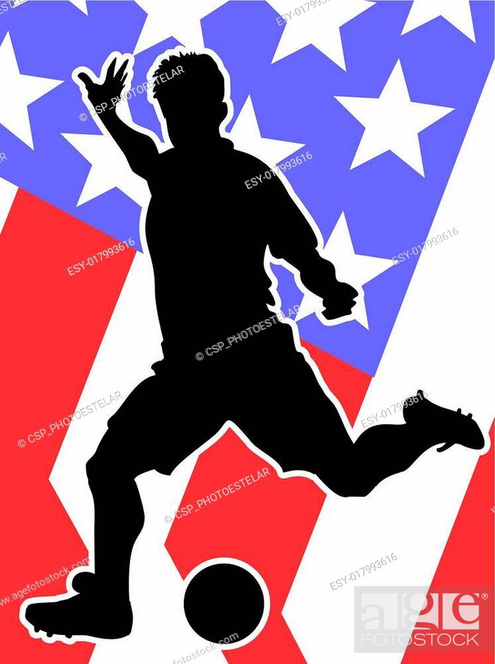 Vector: American Soccer Player silhouette.