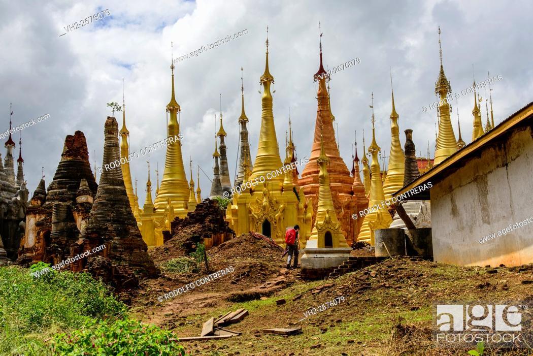 Stock Photo: Indein pagodas, Myanmar.