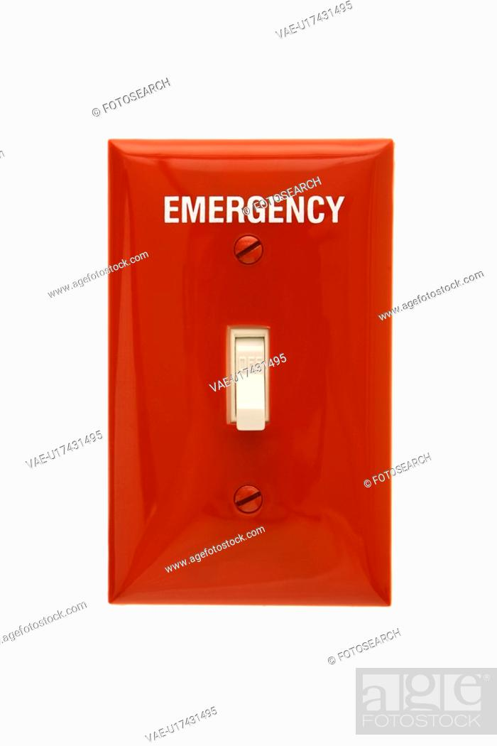 Stock Photo: Red emergency switchplate with switch in off position.