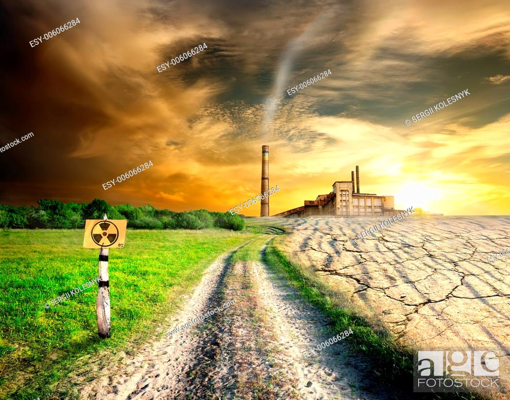 Stock Photo: Damage in the field near the plant.