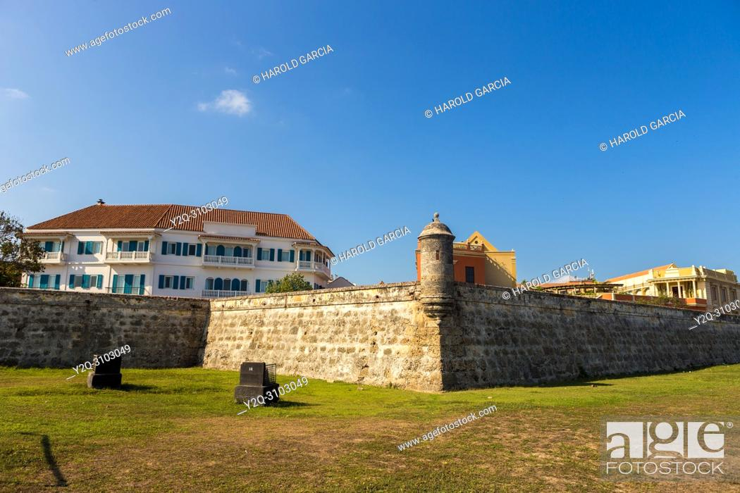 Stock Photo: Bastion in the ancient walled city of Cartagena de Indias and modern buildings. UNESCO's historical patrimony of humanity. Cartagena, Colombia.