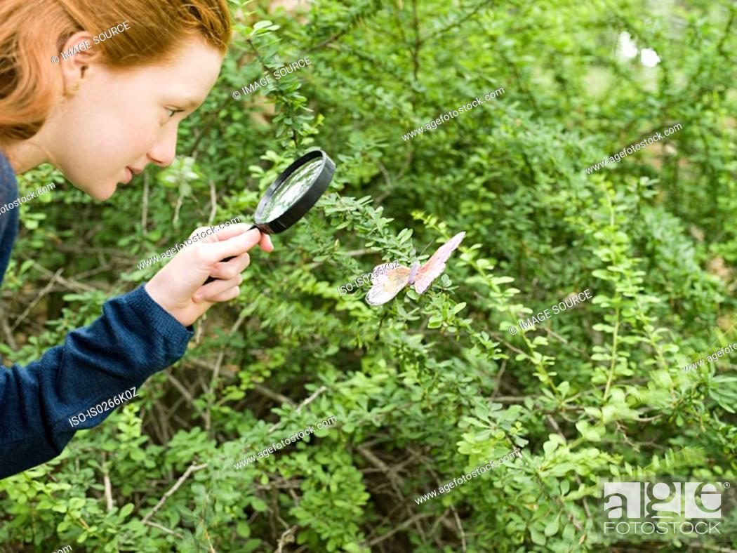 Stock Photo: A girl looking at a butterfly with a magnifying glass.