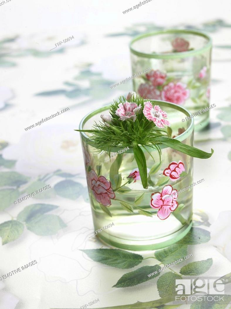 Stock Photo: Sweet william in glasses with a flowery pattern.