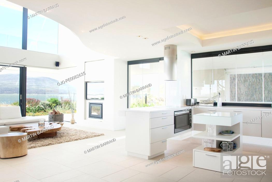 Stock Photo: Modern kitchen and living room.