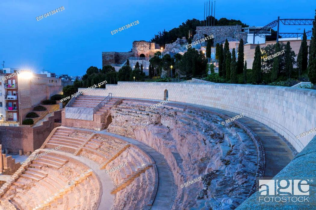 Stock Photo: Roman Theatre in Cartagena. Cartagena, Murcia, Spain.