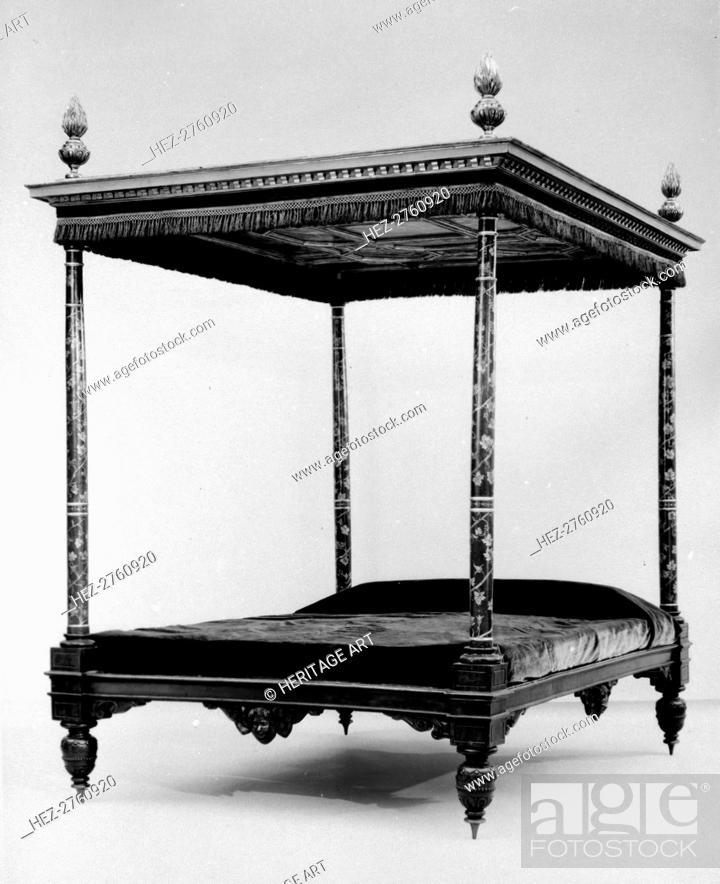 Photo de stock: Tester bed, late 16th-second quarter 17th century. Creator: Unknown.
