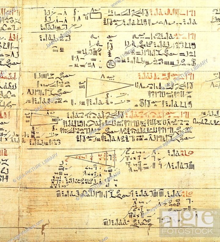 Stock Photo: Egyptian civilization. Rhind Mathematical Papyrus, written in hieratic script, circa 1650 b.C.  London, British Museum.