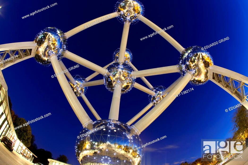 Stock Photo: Atomium Recently restored with new lighting Brussels  Belgium.