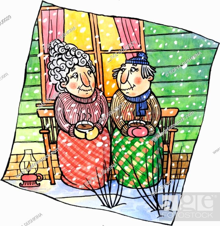 Stock Photo: An old couple having cocoa together on a porch.