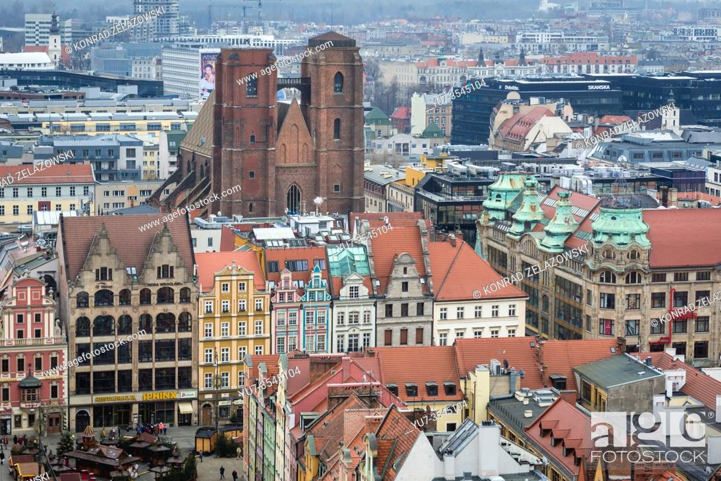 Stock Photo: Aerial view from Garrison Church in Old Town of Wroclaw, Poland - view with Saint Mary Magdalene Church and Market Square.