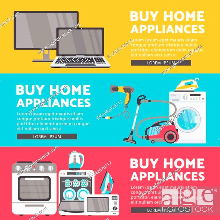 Vector Home Appliance Sale Poster Banner Set Tv Set Plasma Panel Laptop Microwave Oven Stock Vector Vector And Low Budget Royalty Free Image Pic Esy 042670117 Agefotostock