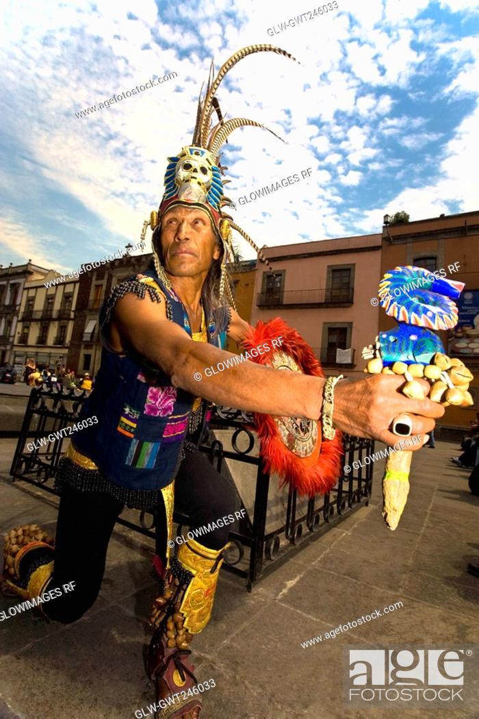 Stock Photo: Mature man performing, Mexico City, Mexico.