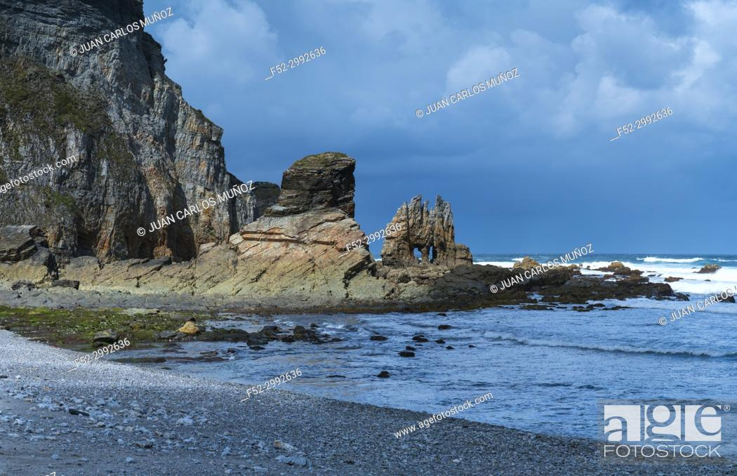 Stock Photo: Portizuelo beach, Villar, Valdes Council, Cantabrian Sea, Asturias, Spain, Europe.