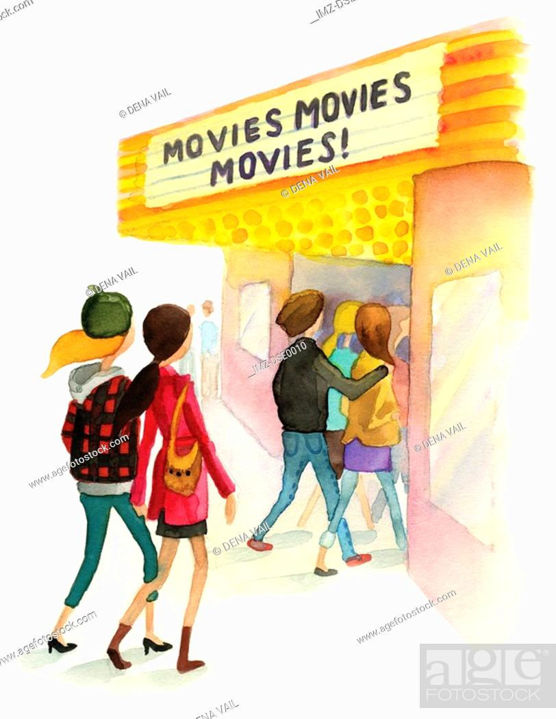 Stock Photo: A watercolor illustration of people going to a movie theater.