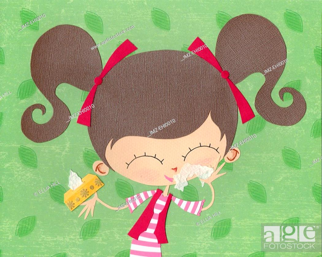 Stock Photo: A paper cut illustration of a girl using tissues on a runny nose.