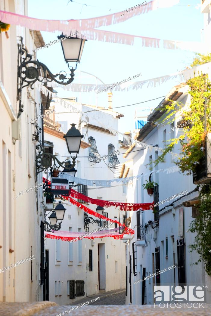 Stock Photo: Altea street festooned with ornaments holiday, Altea, Alicante, Valencia, Spain, Europe.