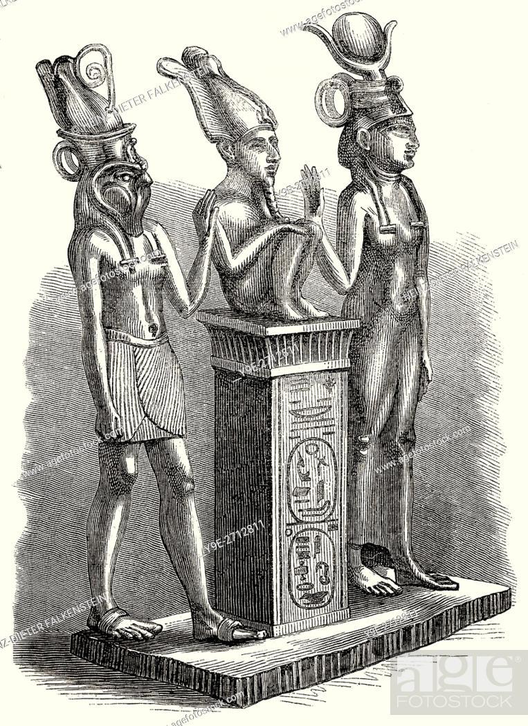 Ancient Egyptian deities, Isis, Osiris, Horus, Stock Photo, Picture