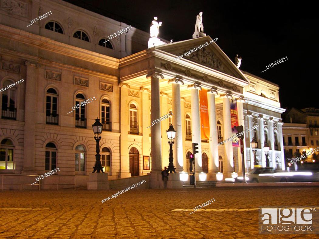 Stock Photo: Dona Maria II National Theatre. Lisbon. Portugal.