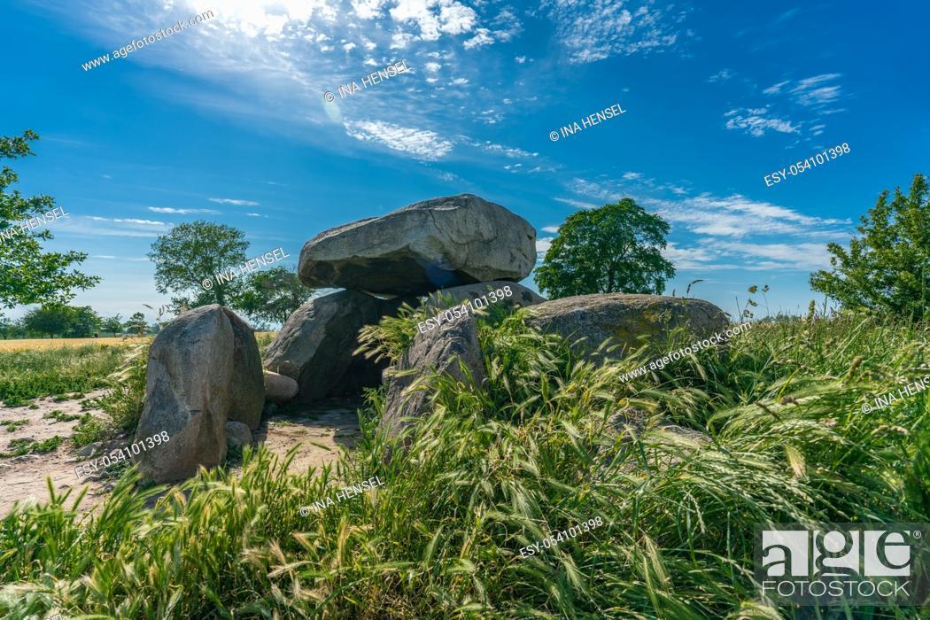 Stock Photo: Prehistoric megalith tomb Garz 2 in a corn field near Rerik/baltic coast.