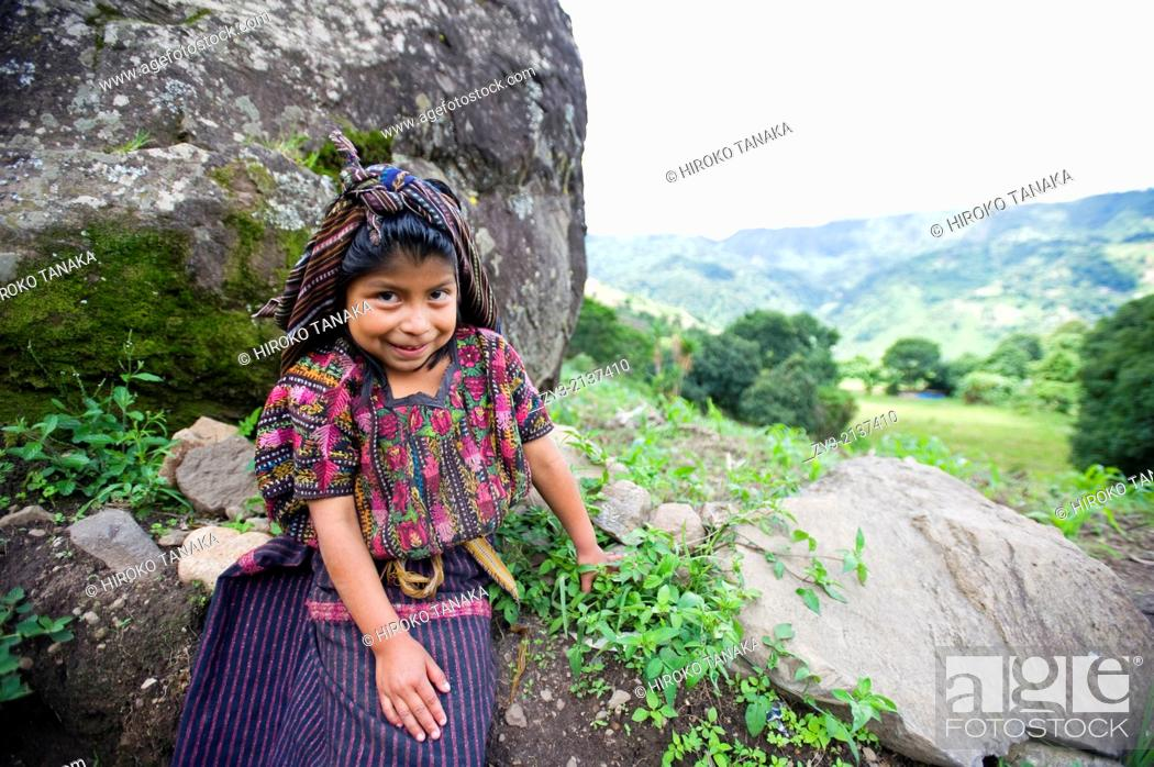 Stock Photo: Guatemala indigenous girl in traditional clothing in Tiera Linda, Solola, Guatemala.