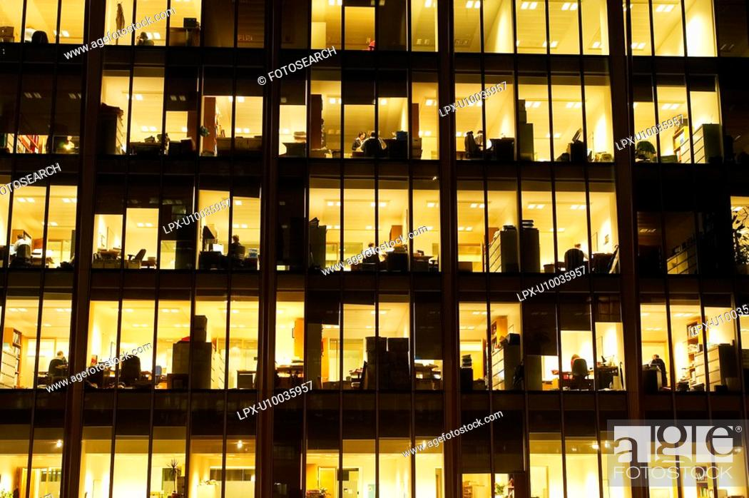 Stock Photo: Office building at dusk.
