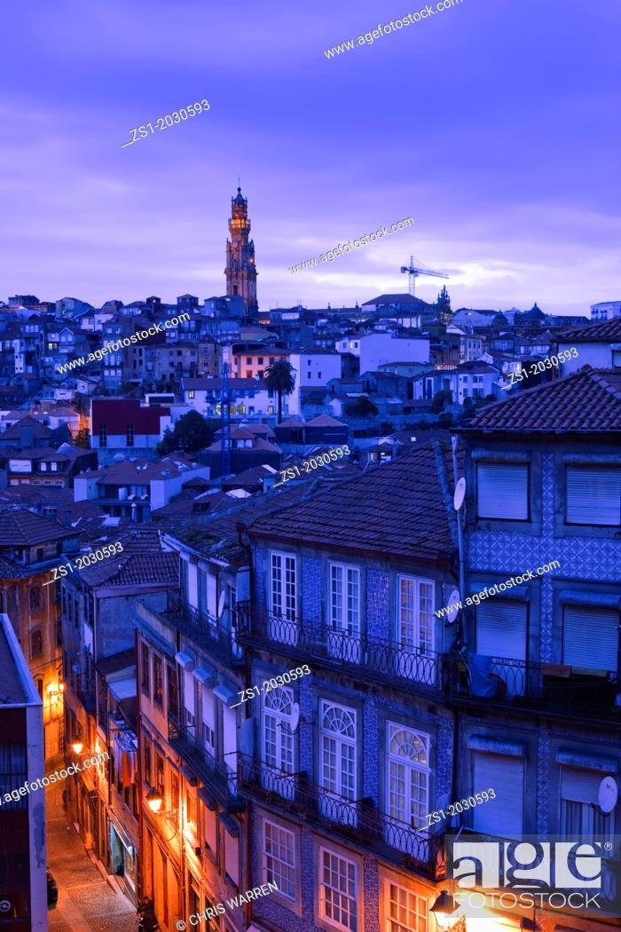 Stock Photo: Overview to Torre dos Clerigos Porto Portugal at twilight.