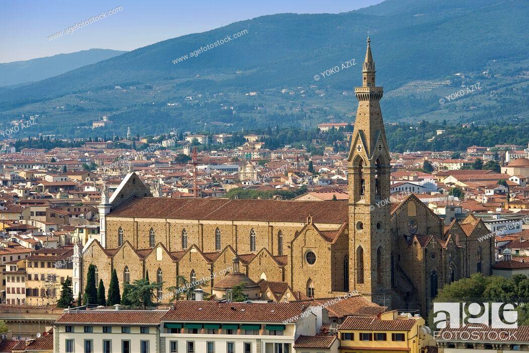 Stock Photo: Italy, Tuscany, Florence, landscape, Santa Croce church.