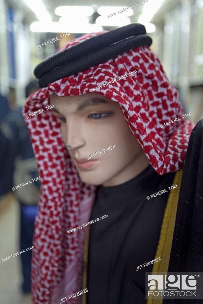 Stock Photo: Jordan, Amman, the souks, keffiehs for sale.