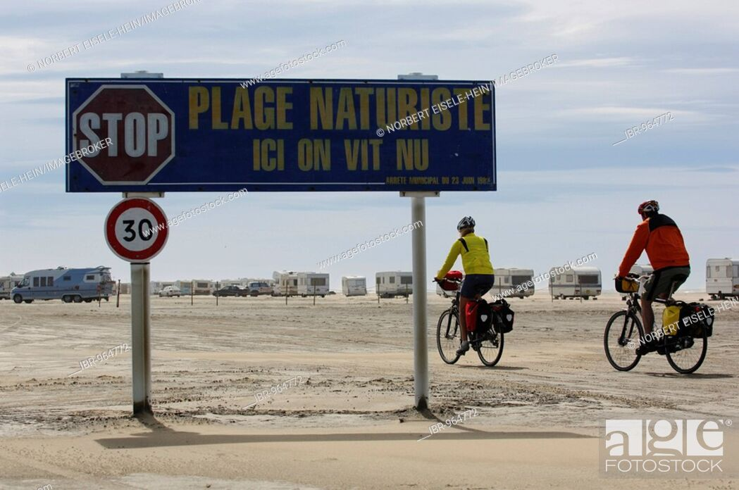 Stock Photo - Sign for nudist camping, Plage de Piémanson Beach, La  Camargue, Provence, France, Europe