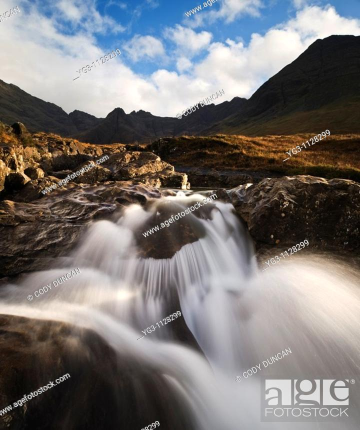 Stock Photo: Waterfall at Fairy Pools, Coire na Creiche, Glenbrittle, Isle of Skye, Scotland.