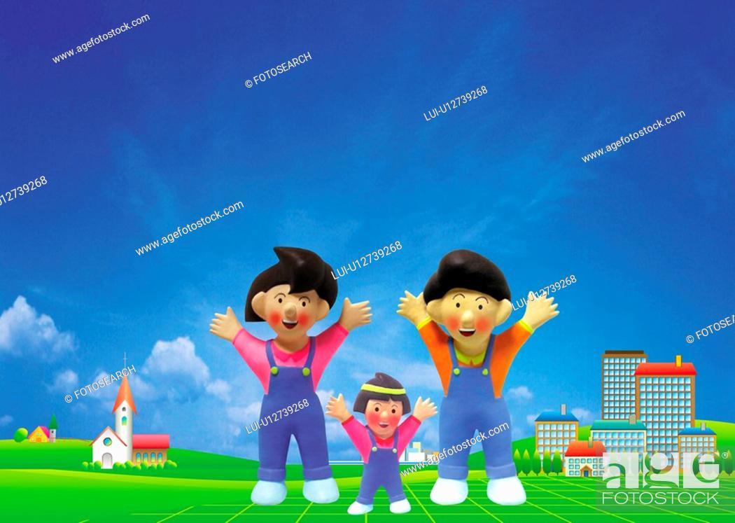 Stock Photo: Family Exercising.