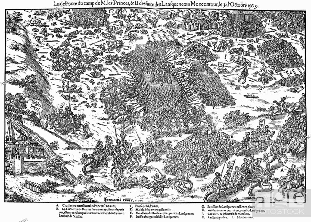 Stock Photo: French Religious Wars 1562-1598  Battle of Montcontour 3 October 1569  Huguenots under Gaspard Coligny 1519-1572 took heavy losses during defeat by Catholics.