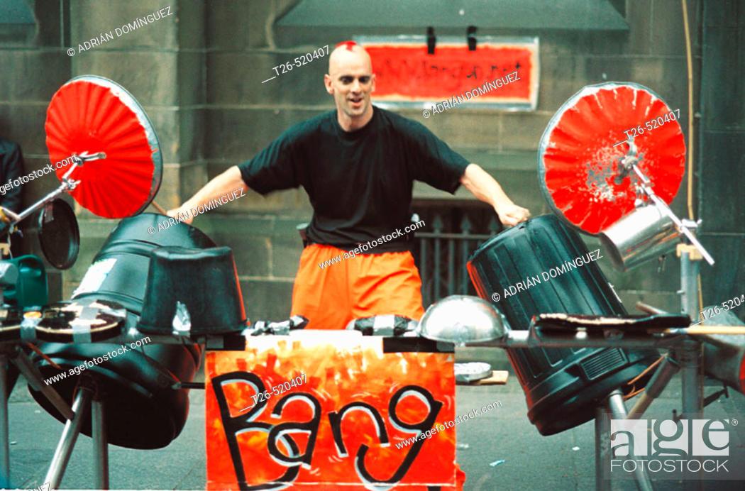 Stock Photo: Show of the band Bang at the Festival Fringe. Royal Mile. Edinburgh. Scotland. UK.
