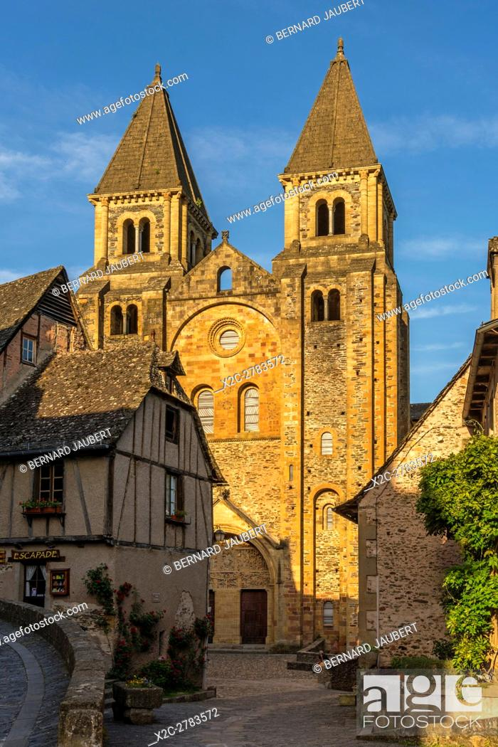 Stock Photo: Conques. Abbatiale Sainte Foy abbey church on the Way of St. James in Conques village. Aveyron. France. Europe.
