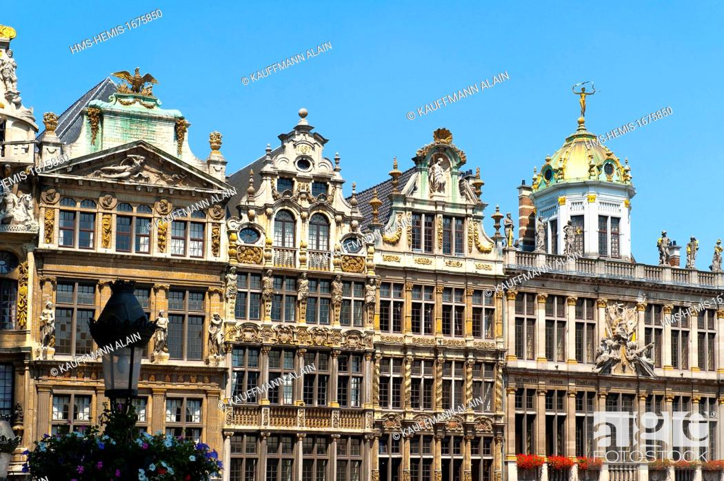 Stock Photo: Belgium, Wallonia, Brussels, Grand Place is the central square of Brussels, internationally renowned for its rich ornamentation, it is bordered by guild houses.