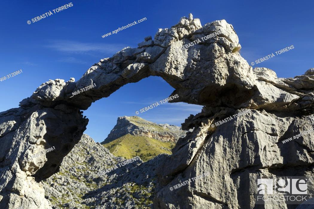 Stock Photo: Stone arch at Serra de Tramuntana, Escorca, Majorca, Balearic Islands, Spain.