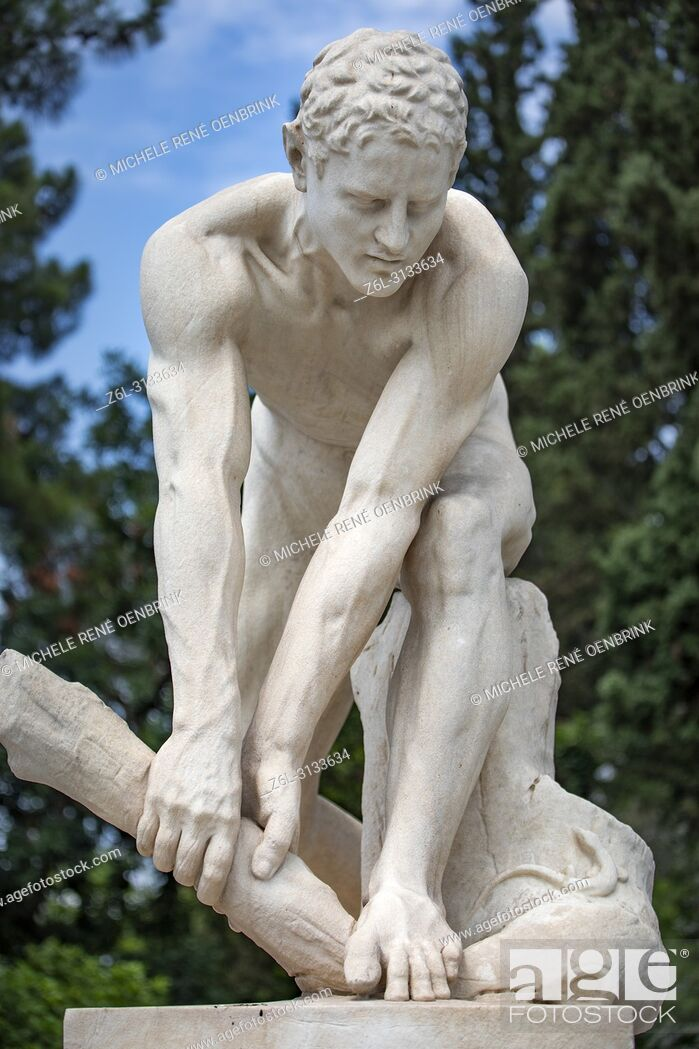 Stock Photo: Marble Art Statue Greece Classic Athens Sculpture Stone.
