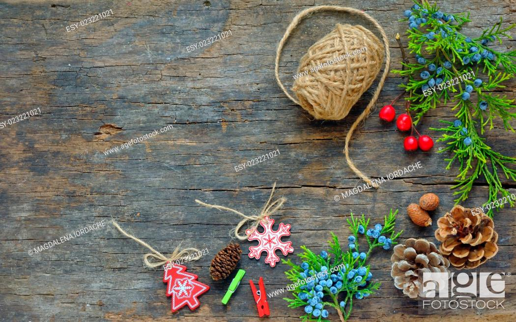 Stock Photo: Christmas Decoration Over Wooden Background.