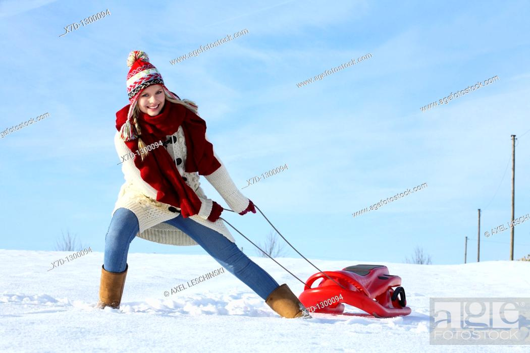 Stock Photo: woman in winterly landscape.