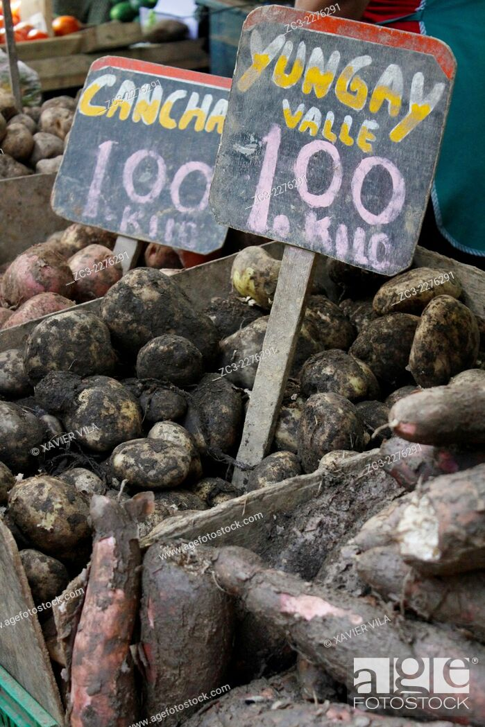 Stock Photo: Local market with potatoes, popular district of San Martin de Porras, Lima, capital of Peru.