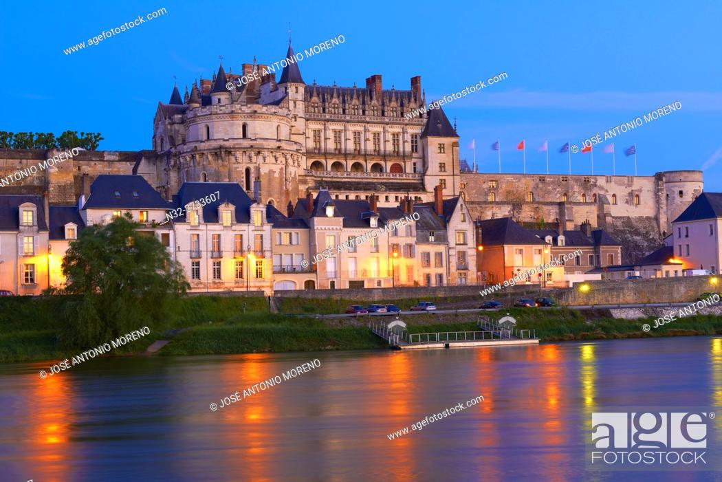 Stock Photo: Amboise, Castle, Chateau de Amboise, Amboise Castle. Dusk, Indre et Loire, Loire Valley, Loire River, Val de Loire, UNESCO World Heritage Site, France.