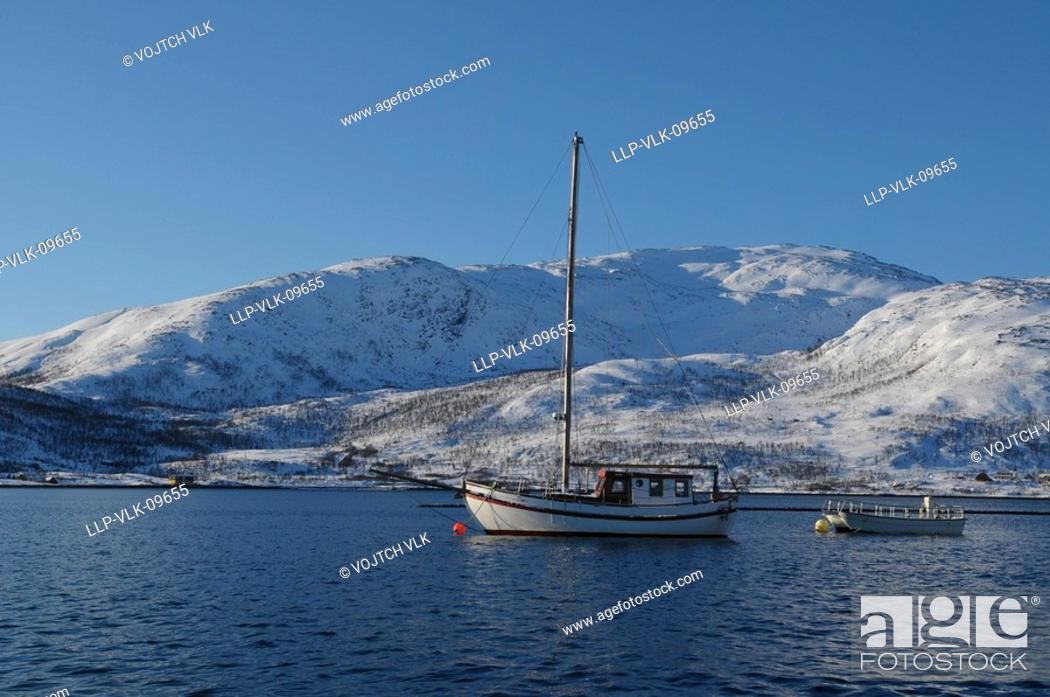 Stock Photo: The snow-covered landscape in Kvaloya - north Norway.