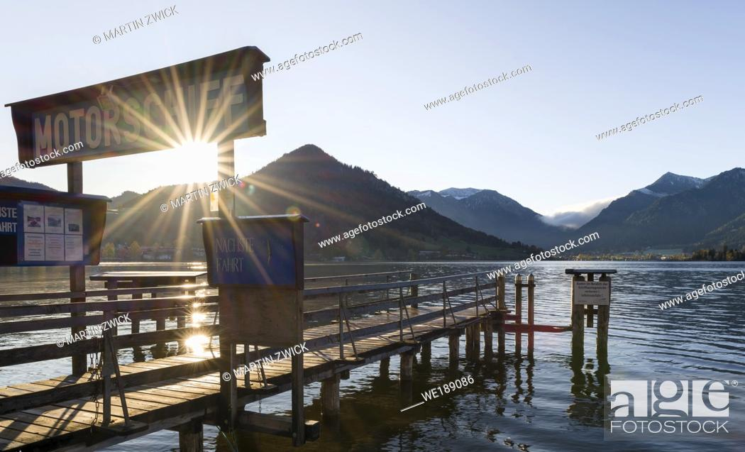Stock Photo: Sunrise at lake and village Schliersee in the bavarian Alps during autumn. Europe, Central Europe, Bavaria, Germany.