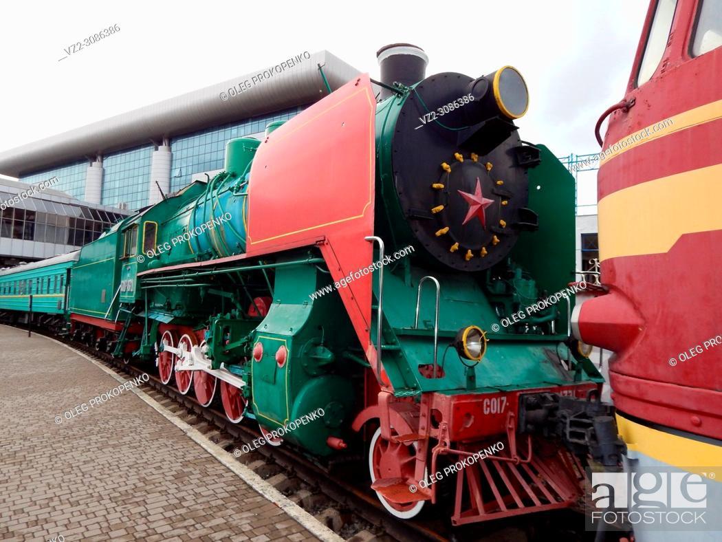 Stock Photo: Railway locomotive, wagons in the train.